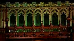 Downward tilt of Big Ben at night Stock Footage