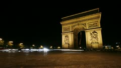 timelapse of the arc de triumph, paris, france at night - stock footage