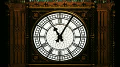 timelapse of the big ben clock moving at night, london, england - stock footage