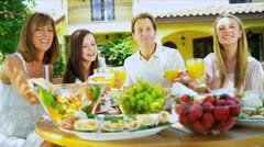 Caucasian Family Promoting Healthy Eating Stock Footage