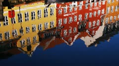 Building reflected on water Stock Footage