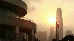Wan Chai Convention Centre, Harbour, Hong Kong Stock Footage