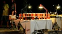 Young Girl selling HomeMade Jams in Bodrum, Turkey Stock Footage