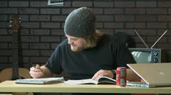 College student doing homework Stock Footage