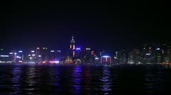 Victoria Harbour Light Show, Hong Kong 2 Stock Footage