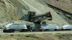 WS T/L Heavy goods vehicle and conveyor belt at construction site / Lehi, Utah, Stock Footage