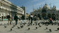 Time lapse movie of people walking through san marco plaza in venice italty Stock Footage