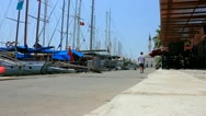 Boats and Ferries on Pier of Bodrum, Turkey Stock Footage