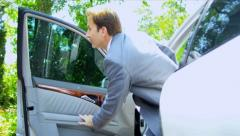Businessman Using Smart Phone Parked Car Stock Footage