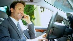 Caucasian Businessman Using Wireless Communication Stock Footage