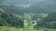 Village in the mountains of Japan Stock Footage