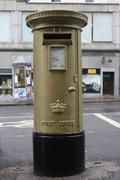 Gold postbox 2012 Olympic medal winners - stock photo