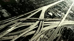 Aerial Over Freeway - stock footage