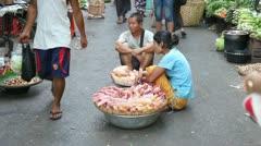 Street market in Yangon, Myanmar Stock Footage