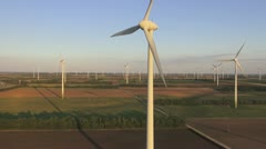 Aerial view of huge windpark Stock Footage