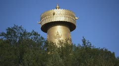 Large prayer wheel Stock Footage