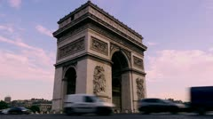 arc de triumph, paris, time lapse - stock footage