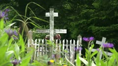 Stock Video Footage of graveyard, Russian cemetery