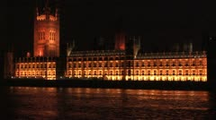 Big Ben at night with Parliment building Stock Footage