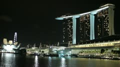 The Marina Bay Sands hotel in Singapore Stock Footage