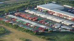 Shipping Container Rows at Distribution Center - Aerial Stock Footage