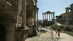 The Temple of Saturn at the foot of the Capitoline Hill in the Roman Forum Stock Footage