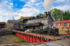 Steam engine on a turntable Stock Photos