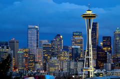 seattle space needle at dusk viewed from kerry park - stock photo