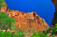 Sheer cliffs at zion np Stock Photos