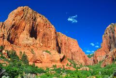 Towering rocks at zion np Stock Photos