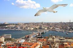 Birds eye view of Istanbul - stock photo