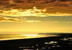 golden sunset. - stock photo
