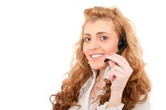 Young business female customer service representative Stock Photos