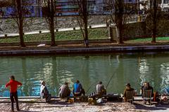 paris, france, fishermen along canal l'ourq, , ps-04510 - stock photo
