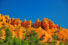 Rock formations in red canyon park in utah. Stock Photos