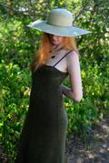 green dress and hat - stock photo