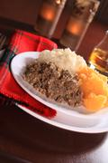 Scottish Haggis Dinner For A Robert Burns Night Supper Celebration Stock Photos