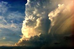 Huge Puffy Clouds - stock photo