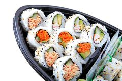 Japanese Sushi Boat Container With A Variety Of Sushi Rolls For A Take Out Lunch Stock Photos