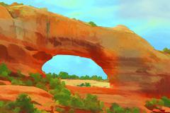 Desert landscape Wilson Arch illustration colorful 1717.jpg - stock illustration