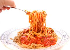 home made spaghetti - stock photo