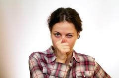 Girl with pig snout Stock Photos
