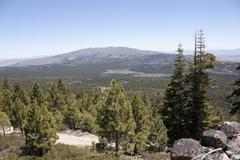 high angle of the sierra nevadas - stock photo