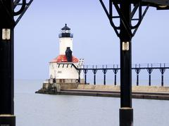 Michigan City Lighthouse through Catwalk Approach Stock Photos