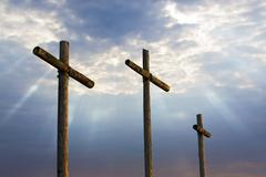 Three Crosses and Glorious Light - stock photo