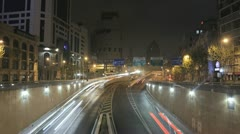 Stunning time lapse of traffic on a freeway in Shanghai, China Stock Footage