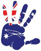 Australia flag handprint impression - stock illustration