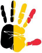 Belgium flag colors on hand print impression Stock Illustration