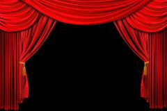 red draped stage background - stock illustration