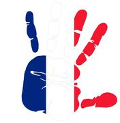 France flag on handprint impression Stock Illustration